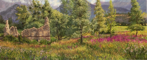 De ruïne van Brun, olieverf, 19 x 46 cm, 8/2008, huile, La ruïne de Brun