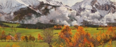 De voet van de Obiou in de mist, olieverf, 19 x 46 cm, 11/2008, huile, Le pied de l'Obiou dans la brume
