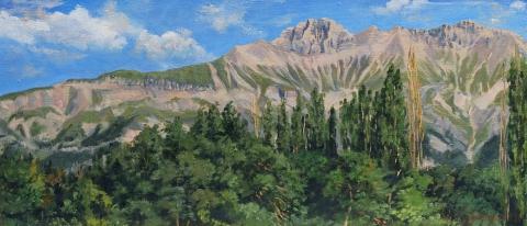 De Obiou, olieverf, 17 x 40 cm, 8/2011, huile, L'Obiou