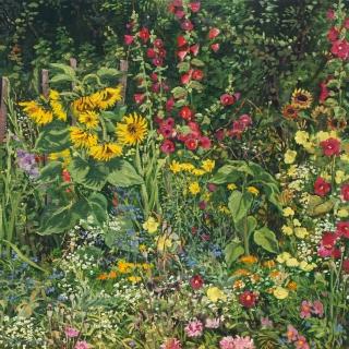 Tuintje Bruno, olieverf, 35 x 35 cm, 8/2011, huile, Le jardin de Bruno