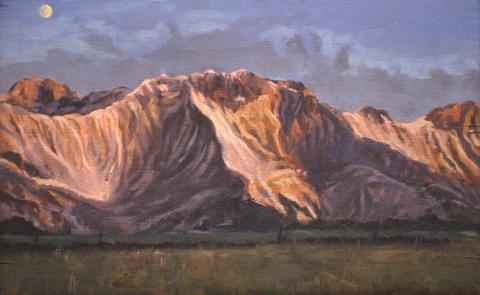 De Obiou bij zonsondergang, olieverf, 20 x 32 cm, 12/1998, huile, L'Obiou au coucher de soleil
