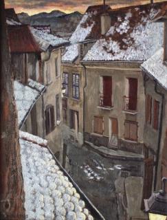 Rue du Temple, olieverf, 42 x 32 cm, 12/1998, huile, Rue du Temple