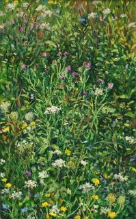 Berm, olieverf, 29 x 18 cm, 8/2013, huile, Herbes folles