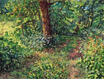 Pad, olieverf, 19 x 25 cm, 7/2015, huile, Sentier