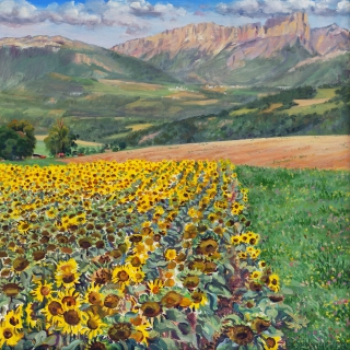 De zonnebloemen van Louis, olieverf, 35 x 35 cm, 8/2015, huile, Les tournesols de Louis