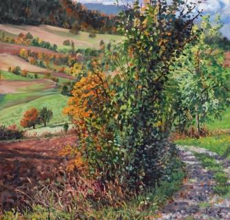 Col du Thaud, olieverf, 31 x 33 cm, 10/2015, huile, Col du Thaud
