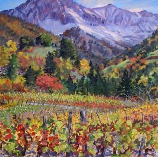 Wijngaard bij Prébois, olieverf, 35 x 35 cm, 10/2015, huile, Vigne de Prébois