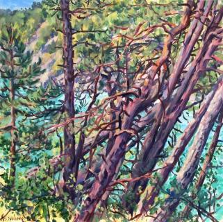 Villarnet, olieverf, 35 x 35 cm, 7/2016, huile, Villarnet