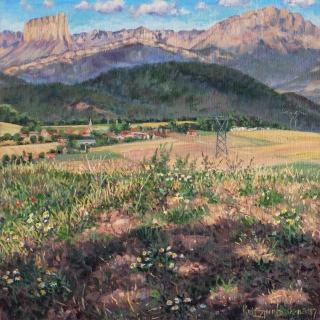 De vlakte van St. Jean, olieverf, 30 x 30 cm, 7/2017, huile, La plaine de St. Jean d'Hérans