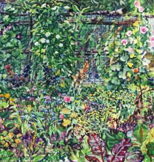 Kippenhok, olieverf, 31 x 29 cm, 7/2017, huile, Poules au Planches
