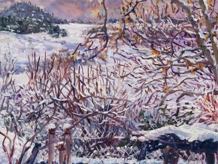 Les terres du ruisseau, olieverf, 19 x 25 cm, 12/2017, huile, Les terres du ruisseau
