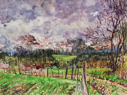 De Obiou, aquarel, 36 x 48 cm, 4/2019, aquarelle, L'Obiou dans la brume