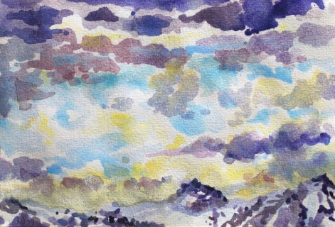 De Vercors, aquarel, 15 x 22 cm, 4/2019, aquarelle, Le Vercors
