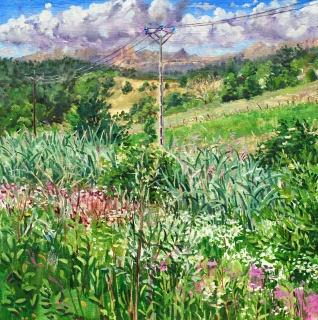 Omgeving Tourres, olieverf, 35 x 35 cm, 7/2019, huile, Environs de Tourres