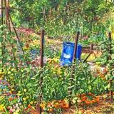 Tuin van Jean-Pol, olieverf, 35 x 35 cm, 8/2019, huile, Jardin de Jean-Pol au Planches