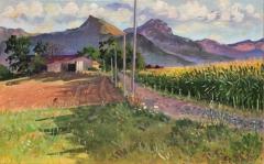 Rhodet, olieverf, 20 x 32 cm, 8/2019, huile, Rhodet