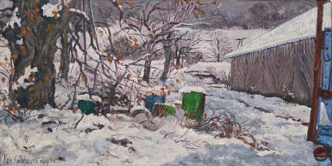 Villette, olieverf, 20 x 40 cm, 12/1999, huile, Villette