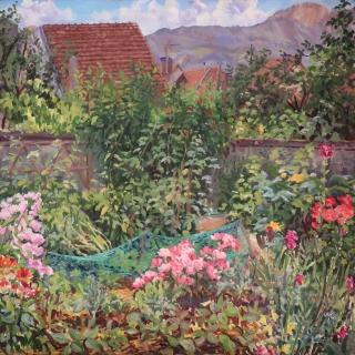 De tuin van Nadine, olieverf, 35 x 35 cm, 7/2020, huile, Le  jardin de Nadine