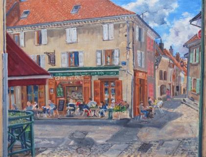 Café des Arts, olieverf, 32 x 42 cm, 8/2020, huile, Le Café des Arts de Mens