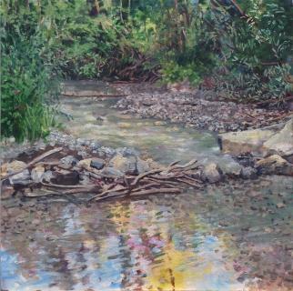 De Vanne , olieverf, 35 x 35 cm, 8/2020, huile, La Vanne