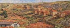 Jarque de la Val, olieverf, 19 x 46 cm, 6/2019, huile, Jarque de la Val