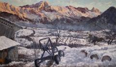 Zonsondergang op de Grd Ferrand, olieverf, 24 x 40 cm, 1/2000, huile, Coucher de soleil sur le Grd Ferrand