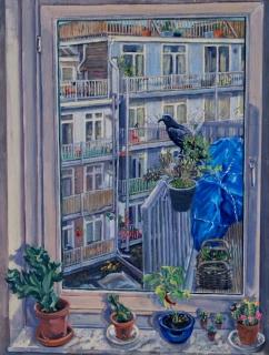 Uitzicht Burgerstraat, Amsterdam, olieverf, 42 x 32 cm, 1/2021, huile, Amsterdam