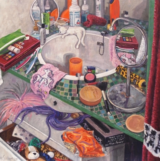 De wasbak van Anna, olieverf, 35 x 35 cm, 2001, huile, Le lavabo d'Anna