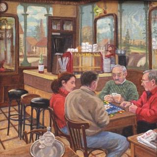 De kaartspelers, olieverf, 35 x 35 cm, 2005, huile, Joueurs de belotte au Café des Arts