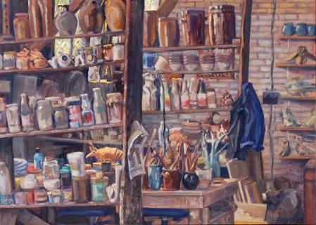 Atelier Adri, olieverf, 32 x 45 cm, 2016, huile, Atelier Adri
