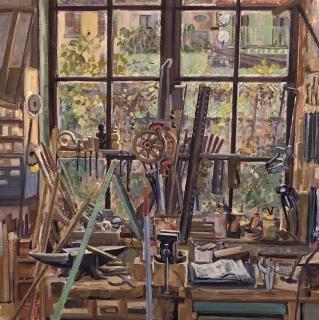 De werkplaats van Camille, olieverf, 35 x 35 cm, 11/2018, huile, L'atelier de Camille