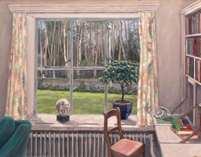 Hoekje Maje - Aalst, olieverf, 30 x 39 cm, 1996, huile,Le bureau de Maje - Aalst