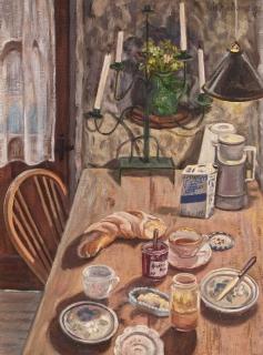 Ontbijt in Mens, olieverf, 28 x 20 cm, 1997, huile, Petit déjeuner à Mens