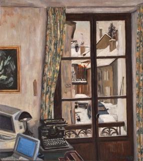 Kamer Tom in Mens, olieverf, 36 x 32 cm, 1997, huile, La chambre de Tom à Mens