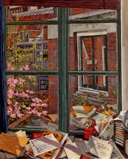Kamer Tom in Amsterdam, olieverf, 36 x 29 cm, 1999, huile, La chambre de Tom à Amsterdam