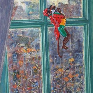 Uitzicht atelier, Amsterdam, olieverf, 30 x 30 cm, 11/2020, huile, Vue de mon atelier