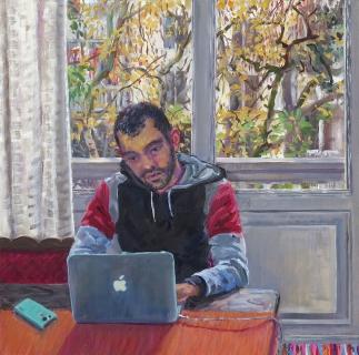 Hemza, olieverf, 35 x 35 cm, 2016, huile, Hemza