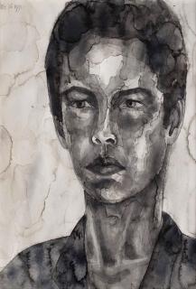 Zelfportret, aquarel, 40 x 30 cm, 1991, aquarelle, Autoportrait