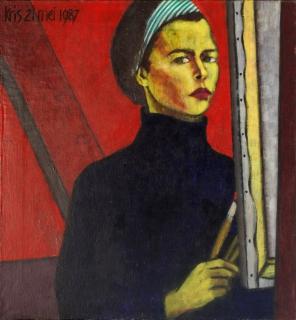 Zelfportret, olieverf, 85 x 80 cm, 1987, huile, Autoportrait