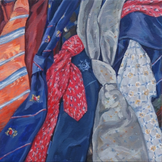 De stropdassen van mijn vader, olieverf, 35 x 35 cm, 2020, huile, Les cravates de mon père