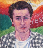 Portret Mees, olieverf, 40 x 36 cm, 2018, huile, Portrait de Mees