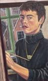 Zelfportret, olieverf, 55 x 32 cm, 1996, huile, Autoportrait