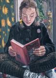 Anna lezend in de Griezelbus, olieverf, 55 x 40 cm, 1997, huile, Anna
