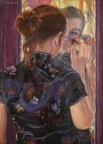 Anna voor spiegel, olieverf, 55 x 40 cm, 2002, huile, Anna devant le miroir