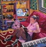 Anna in haar kamer, olieverf, 40 x 40 cm, 2005, huile, Anna dans sa chambre