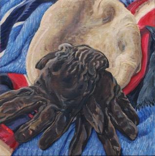 Handschoenen en pet van mijn vader, olieverf, 35 x 35 cm, 2020, huile, Les gants de mon père