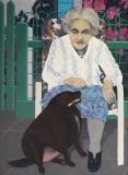 Oma met Tosca, olieverf, 110 x 80 cm, 1988, huile, Grand mère avec Tosca