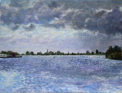 Lek bij IJsselstein, olieverf, 19 x 25 cm, 8/2007, huile, Le Lek à IJsselstein