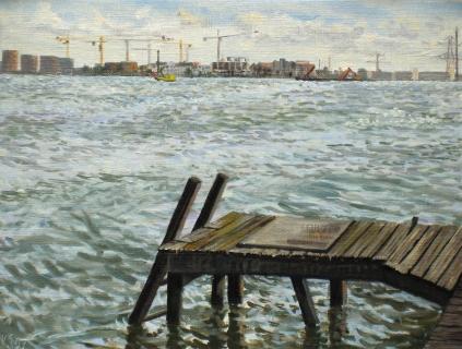 IJburg in aanbouw, olieverf, 19 x 25 cm, 9/2007, huile, IJburg