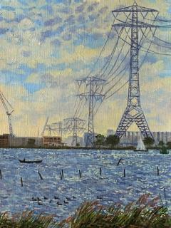 IJburg, olieverf, 25 x 19 cm, 9/2008, huile, IJburg